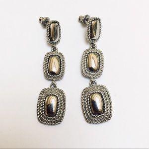 Monet Vintage Silver-tone Pierced Dangle Earrings